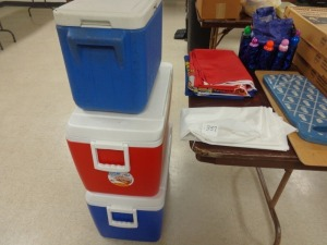 (3) Flags (Marines, Navy, AirForce) plus (3) Coolers