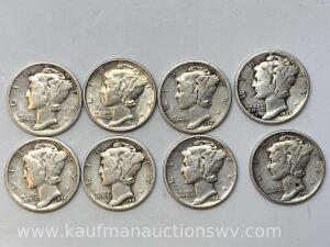Eight different dates Mercury dimes