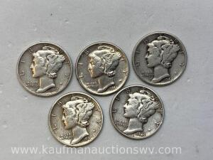 Five different dates Mercury dimes