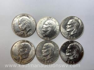 Six different dates Eisenhower dollars