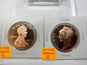 2 - 1 ounce copper bullions