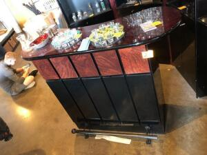 "5' x 16' x 44"" Contemporary bar unit -black and wood grain coated finish - contents not included"