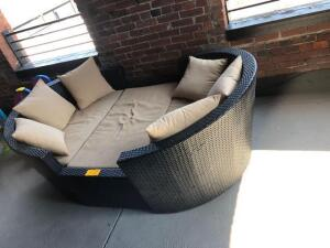 "Outdoor three piece wicker lounge set with cushions - 53"" x 28"" x 84"""