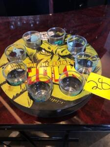 Incredible hulk shot glasses and serving tray