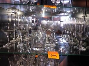 7 champagne flutes-Various stem wear -1 rocks glass