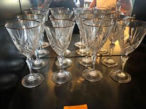 8 Glass gold rimmed wine glasses