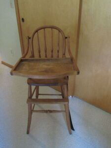 Vintage wood high chair