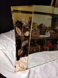 Vintage Mirror w/ Pink Etched Sides