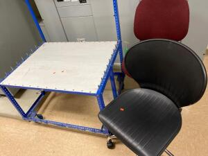 Rolling metal rack unit, 2 rolling office type chairs