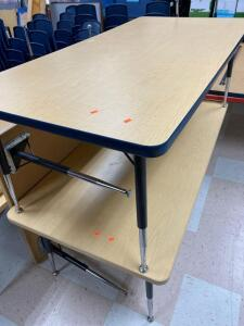 "2 classroom tables 30"" x 60"" with adjustable legs"