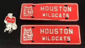 Vintage Houston Wildcat Metal Plates and Plastic Badge