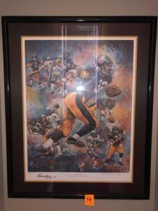 "Limited edition lithograph -Signed by Franco Harris - authenticity on back -"" Franco's immaculate reception "" - by Dino Guarinao - 43 "" h x 32"""
