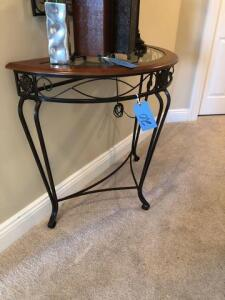 "Small glass half table (17""x32""x36"") - metal legs - wood trim"