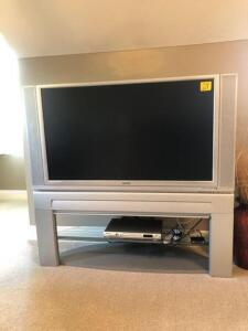 "Hitachi 50"" Television on stand"