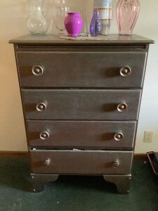 "4-drawer dresser measures 30""L x 15""W x 43""H and hundreds of (really good!) CDs"