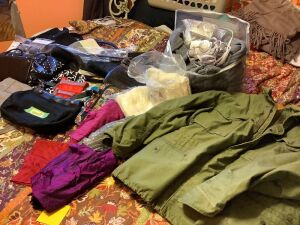 Women's handbags, electric blanket w/ dual controls, neck scarves and a large military surplus coat