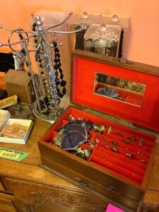 Costume jewelry including rings, earrings, necklaces, childens watches, belt buckles. See all photos!!!