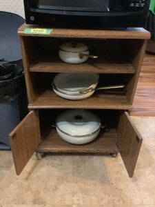 "Microwave cart (24""L x 16""W x 33""H) with very nice Copco (made in Spain) 7qt. pot w/ lid, 2.75 qt. pan, No. 706 skillet and No. 123 soup pan"