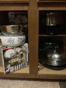 Metro 4qt. steamer NIB, Metro 3pc steamer NIB,  colander, Lincoware saucepan, other misc pots & pans, Sunburst glasses, new Mirro 6qt blancher, vintage cereals bowls and so much more. See all photos!!!