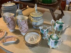 Pink and green depression, pretty enamel painted bowl, Lefton vases and ashtrays, tea set, bed tray, plates