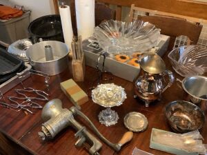 Universal meat grinder, Mikasa bowl, unmarked crystal bowl, silver plate, paper towel holders, knife block and knives, roaster, 13 matching International Silver Co spoons
