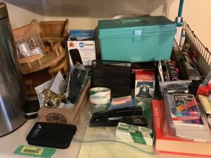 Loaded sewing box, MANY office supplies, trash can, wooden lazy susans, baskets, indoor digital antenna and more