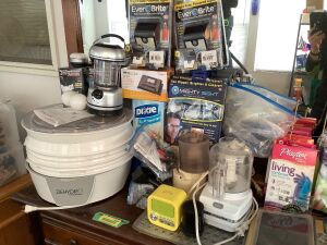 All items on top of and in dresser drawers-Presto dehydrator, KitchenAid Pulse, furniture sliders, furniture feet, sheets, Emjoi micro-pedi, and more