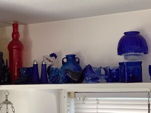 Blue glass #3 and a few other colors including Fenton, animal figurines, S & P shakers, modern water dispenser and more!!