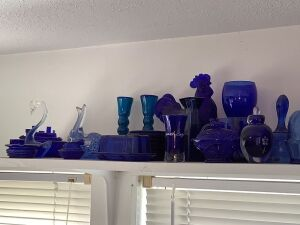 Blue glassware and a red friend!!