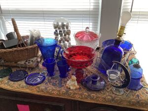 Thimble collection, blue glass, sun catchers, pitcher and glasses, candle holders and more