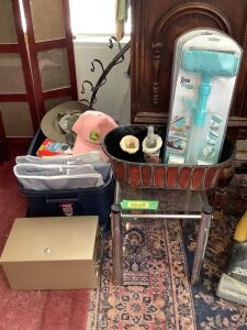 Eureka Air Extreme vacuum, small glass top table, storage bags, caps, 15 frame picture screen and other misc. items