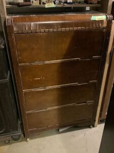 "Two antique dressers - 4 drawer measures 32""L x 10""W x 50""H and other measures 33""L x 19""W x 43""H"
