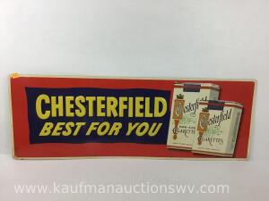 Chesterfield cigarette advertising metal sign