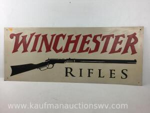 Winchester rifles metal advertising sign