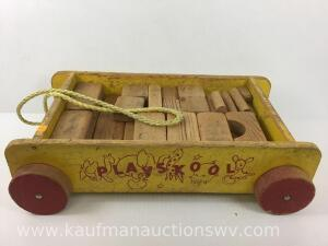 Play Skool wooden wagon with building blocks