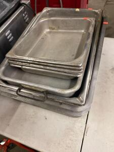 Assorted stainless pans and steam table pans