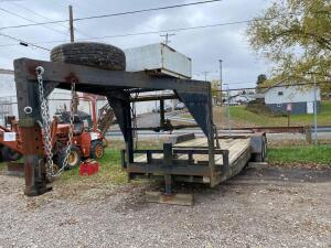 "Gooseneck trailer, sells with bill of sale only, trailer is street legal, recent new tires, lights work, ramps, rear frame has slight twist, 77""x 20'"