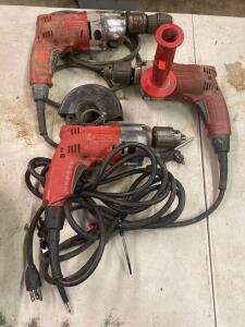 3 Milwaukee Drills, one is a hammer drill, all 3 in working order
