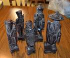 5 Wooden native statues
