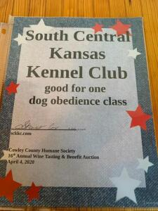 South Central Kansas Kennel Club Dog Obedience Class Gift Certificate