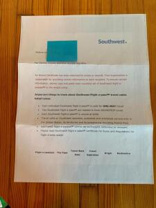 Southwest Airlines Gift Certificates