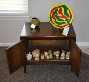 Wood Cabinet with Contents includes various Harmony Kingdom collectables