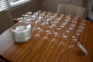 Etched Wine Glasses and Plates