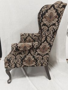 26x41x32 Wingback Chair with wood legs- black, tan, copper