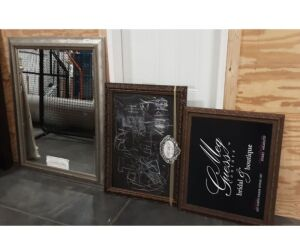 "Silver Mirror (Broke in Corner)-45""x57""; Chalkboard-30""x42""; Meg Guess Sign-36""x29"""