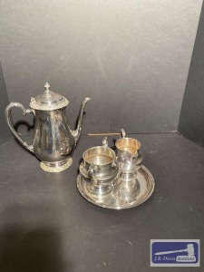 Silver plate tea/coffeee with cream and sugare