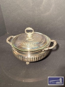 Silver plate covered casserole