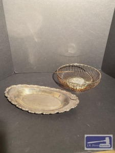 Silver plated bread basket and biscuit tray