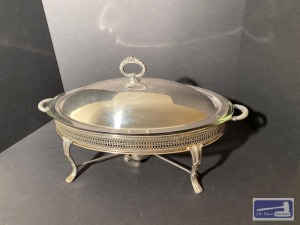Silver plated oval covered dish with sterno
