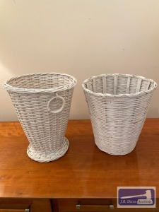 White wicker waste baskets